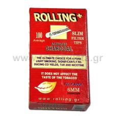 Φίλτρο Τσιγάρου Rolling 6mm με Άνθρακα 100τμχ.